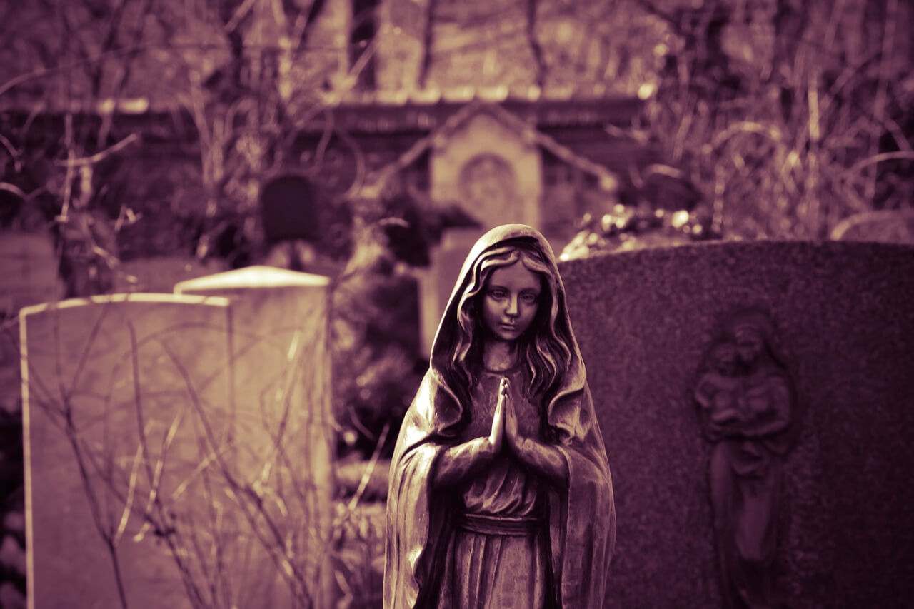 Grabfigur Madonna figur Bronze