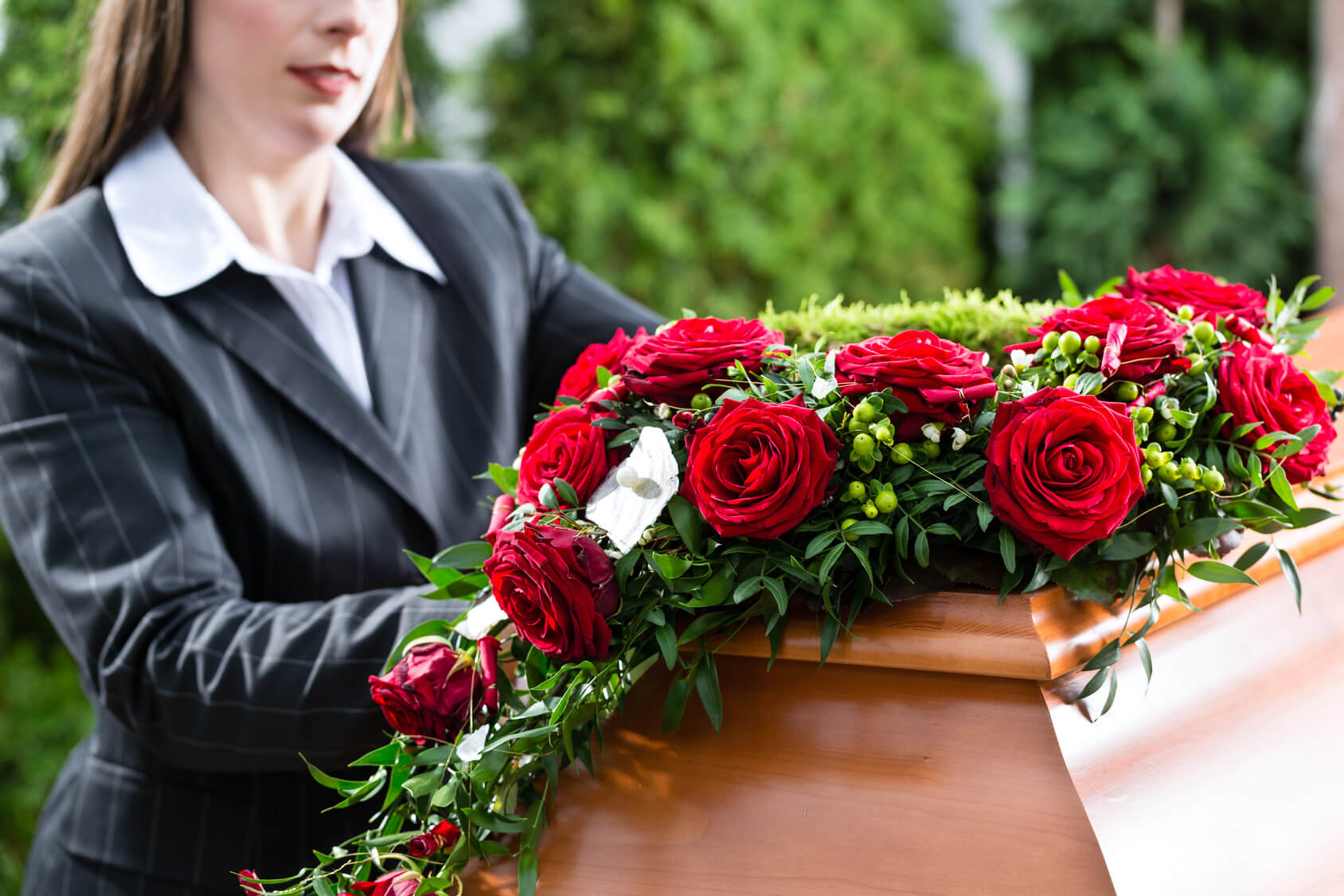 Trauerkranz Rote Rosen