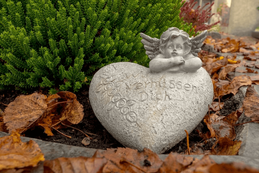 Trauerherz mit Engel
