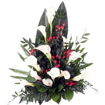 Eine Grafik zu Blumengestecke mit Callas günstig online bestellen