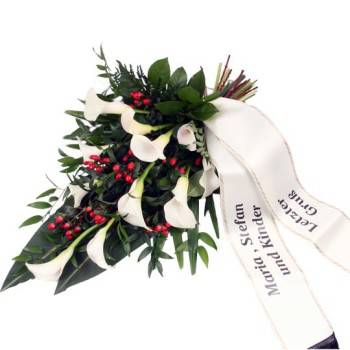 Eine Grafik zu Trauersträuße mit Callas & Schleifen bestellen